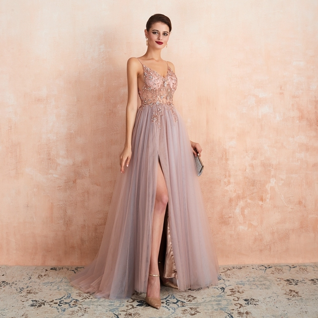 Pink Beaded Prom Dresses Plus Size 2021 Long Elegant See Through A Line Split Tulle V Neck Spaghetti Strap Evening Gown 4
