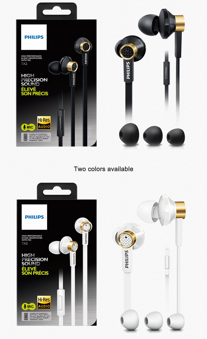 Philips Original Tx2 HiRes earphone high resolution HIFI fever earbuds ear noise canceling earphones for a mobile phone xiaomi
