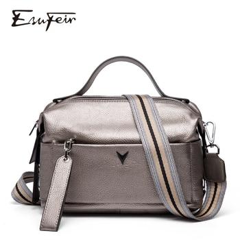 100% Genuine Leather Women Handbag Fashion Top-Handle Boston Pillow Bag Soft Female Shoulder Crossbody sac