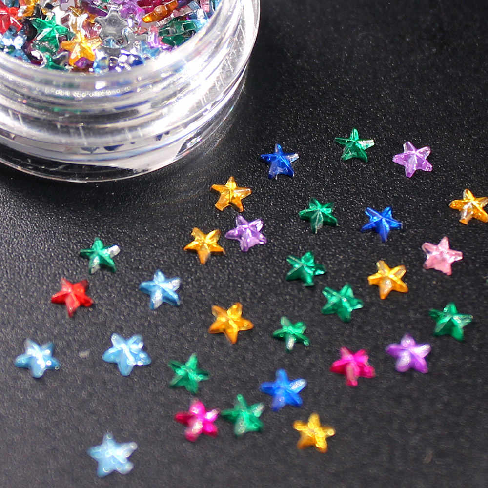 1Pcs DIY Nail 3d Colorful Stars Nail Rhinestone Irregular Beads Manicure 3D Nail Art Decoration In Nails Accessories for Fashion