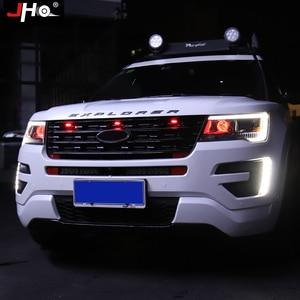 Image 4 - JHO Car Smoke przedni grill LED Light Raptor stylowa lampa dla Ford Explorer 2016 2019 2018 2017 Limited Sport Platinum akcesoria