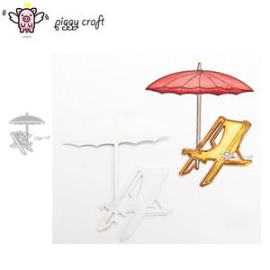 Piggy Craft metal cutting dies cut die mold Vacation beach chair tent Scrapbook paper craft knife mould blade punch stencils die