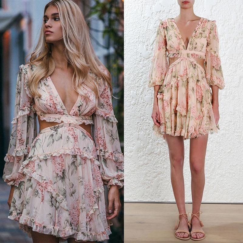 Print Dress Female Chiffon V Neck Hollow Out Lantern Sleeve High Waist Mini Dresses Summer Fashion Sweet New
