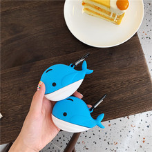 cute 3D ocean animal whale funny Silicone soft headset case For Apple new Airpods 1/2 Cover Wireless Bluetooth Earphone case