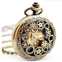 Pocket Watch Pendant Watch Gear Hollow Golden