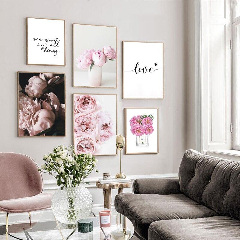 Настенный постер с розовыми пионами и принтом «любовь», Настенная картина с цветами, Картина на холсте, Скандинавская Настенная роспись, домашнее украшение для гостиной