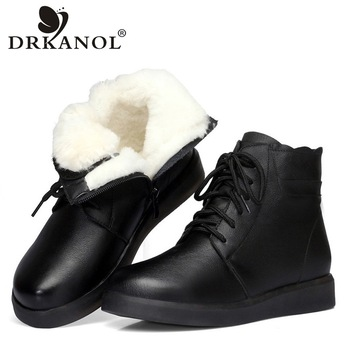 DRKANOL Brand Winter Boots Women Snow Boots Natural Thick Wool Warm Ankle Boots For Women 100% Genuine Cow Leather Flats Shoes allbitefo natural genuine leather snake texture cow leather women ankle boots fashion sexy motorcycle boots girls winter shoes