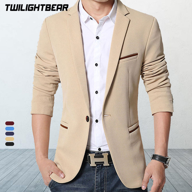 Brand Mens Casual Blazers Autumn Spring Fashion Slim Suit Jacket Men Blazer Masculino Clothing Vetement Homme M~5XL HF1415 1