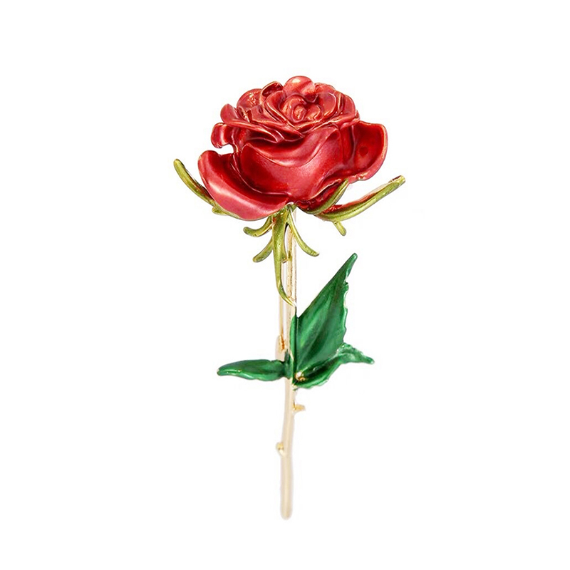 Wuli&baby Classic Enamel Rose Flower Brooches For Women Alloy 4-color Rose Flower Weddings Office Casual Brooch Pins Gifts 1