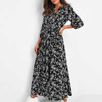 Hot Sale 2020 Spring Women's Printed Floral Chiffon Dress Long Casual Thin High Waist Lace Up Vintage Long Dress Boho Vestidos