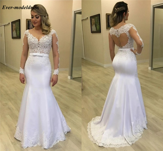 Elegant Arabic Mermaid Wedding Dresses Long Sleeves Illusion Buttons Back Lace Appliques Bridal Gowns Robe De Mariee
