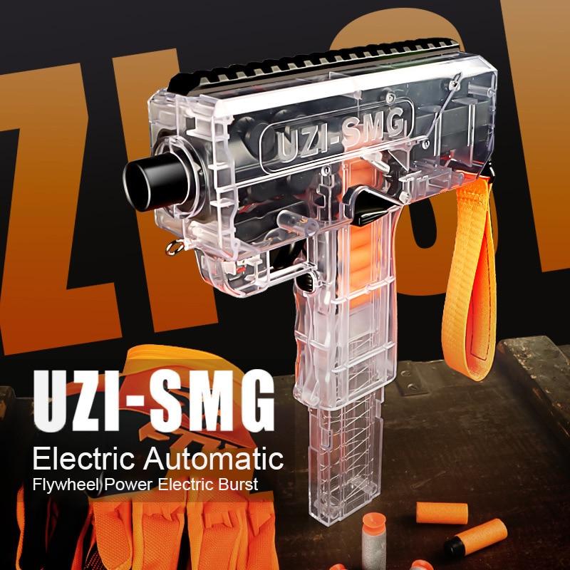 Plastic Toys Gun UZI Electric Burst Shooting Darts Soft Hole Head Bullets Flywheel Power Kid Game Children Birthday Gift Boy Toy