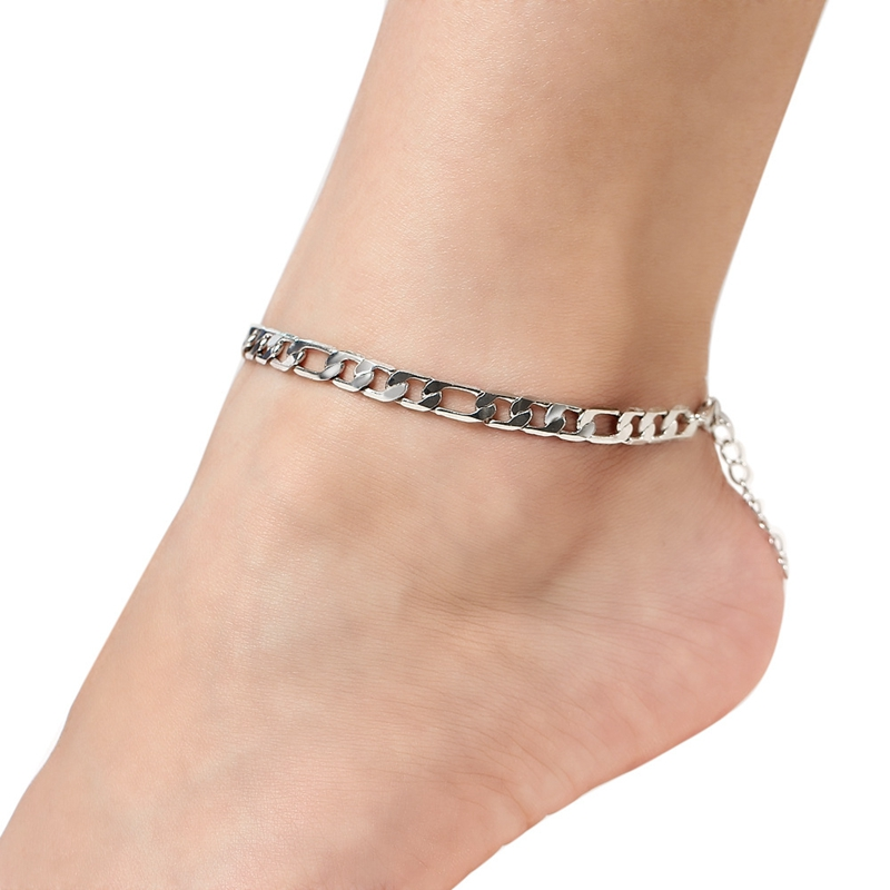 Vintage Golden Cuba Link Chain Anklets For Women Men Ankle Bracelet Fashion Beach Accessories Jewelry image