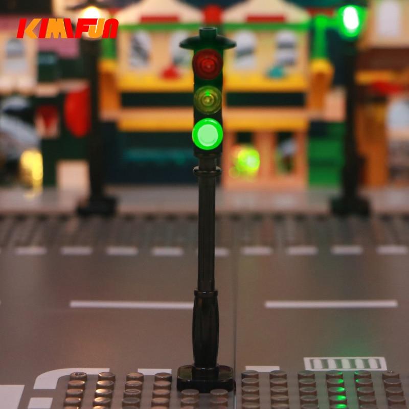 1pcs LED MOC Street Automatic Cycle Traffic Signal Light Building Blocks City Series Bricks Block Set Model