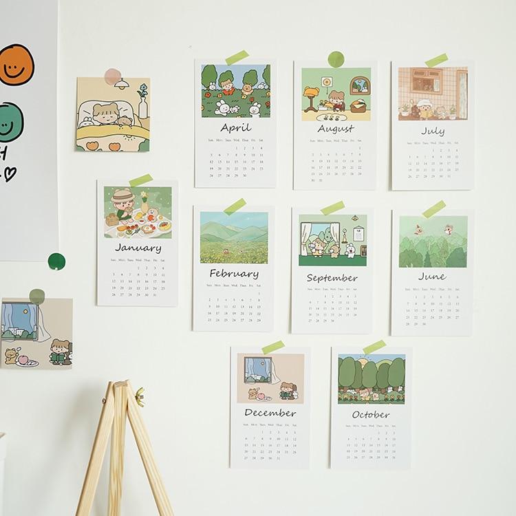 2020 Korean Forest Style Cute Girls Wall Calendar Wall Decorating Sets Paper Calendar Card