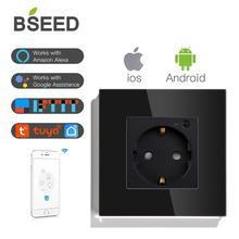 BSEED standard ue gniazdo ścienne inteligentne gniazdo WIFI gniazdo biały czarny złoty kolory współpracuje z Tuya Google