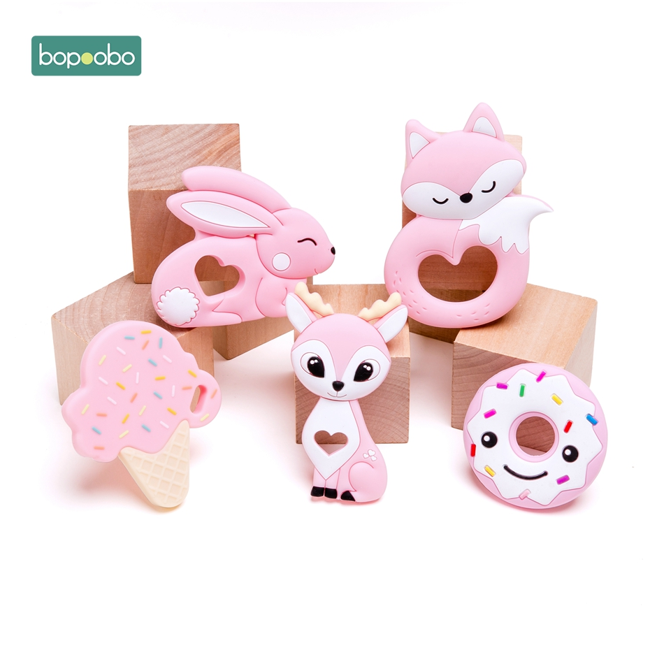 Bopoobo 1pc Baby Teether Silicone Pig Food Grade Brid Teether Nursing Teething Necklace Accessories Baby Products Safe Toys