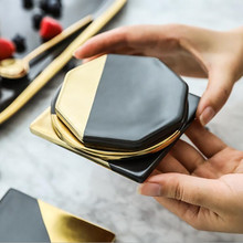CFen As Marble Grain Black Gold Plating Ceramic Coasters Cup Pad Mat Table bowl Placemat Coffee Tea drink coasters 1pc