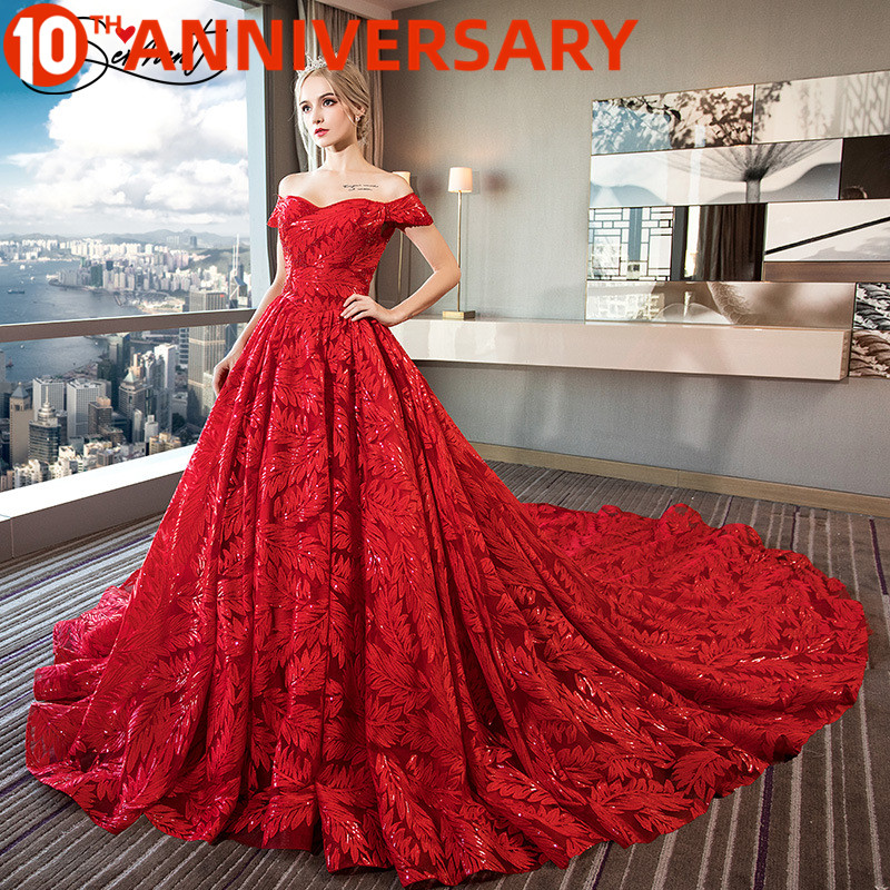 OllyMurs Wedding Red Feather Luxury Pattern Exclusive Design One Word Shoulder Lace Handmade Large Pregnant Women Wedding Dress