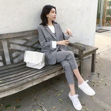 Work Pant Suits OL 2 Piece Sets Double Breasted Solid Blazer