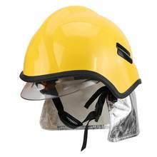 Cor amarela helm pedam proteção à prova de fogo bombeiro segurança capacete anti-corrosão radiação calor oposição policarbonato