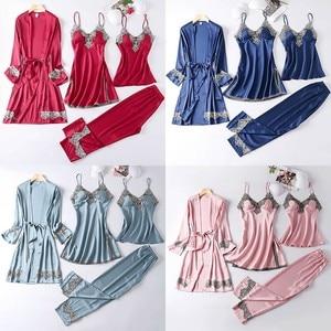 Image 5 - 4PCS סאטן הלבשת ליידי פיג מה חליפת נייטי & Robe סט סקסי אינטימי הלבשה תחתונה מזדמן כלה חתונה מתנה Homewear כתונת לילה