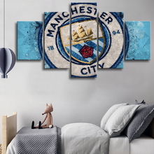 5 Pieces Sports Premier League Manchester City Football Posters Canvas Paintings Wall Art Prints Pictures Boys Decor Frame