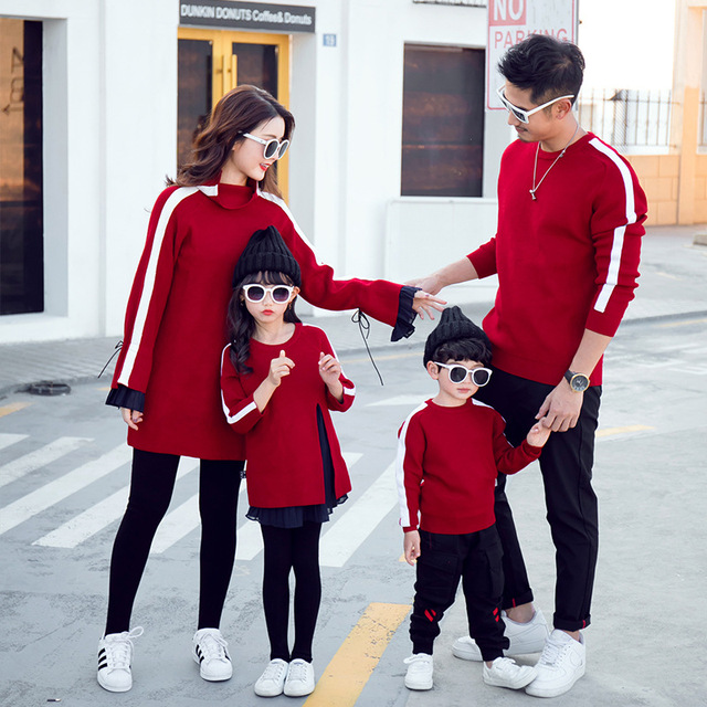 2019 Autumn Winter Daddy Son Outfits Mother and Daughter Clothes Family Matching Sweaters Hoodies Mom and Daughter Dress Jackets