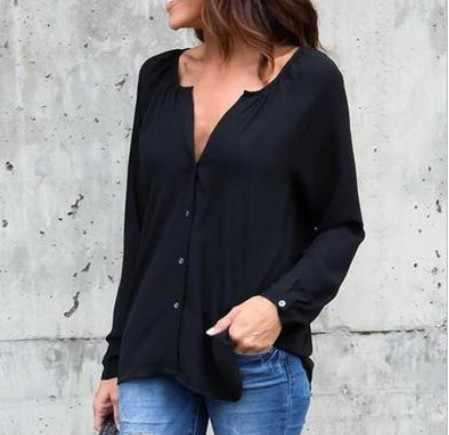 2019 אופנה סתיו רופף כפתור ארוך שרוול V צוואר שיפון חולצה בתוספת גודל נשים חולצות נקניקיות מוצק חולצה משרד ליידי חולצות