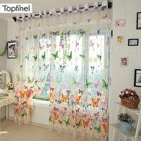 Topfinel-cortinas transparentes de gasa de mariposa para cocina, sala de estar, dormitorio, tratamiento de ventana