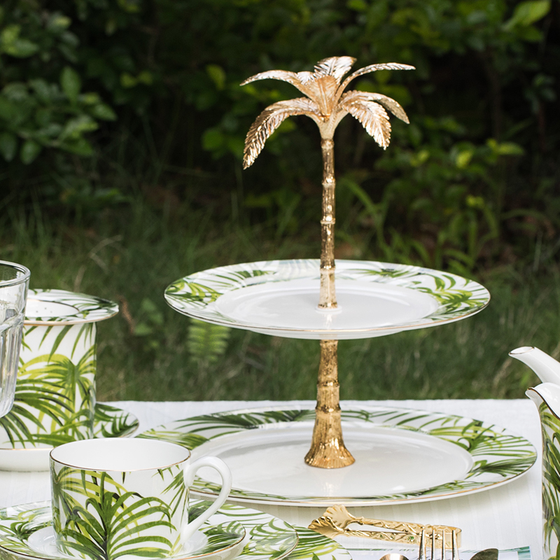 EECAMAIL anglais après-midi thé créatif Double-couche fruits plaque en céramique gâteau plaque os chine Dessert plaque Snack Stand