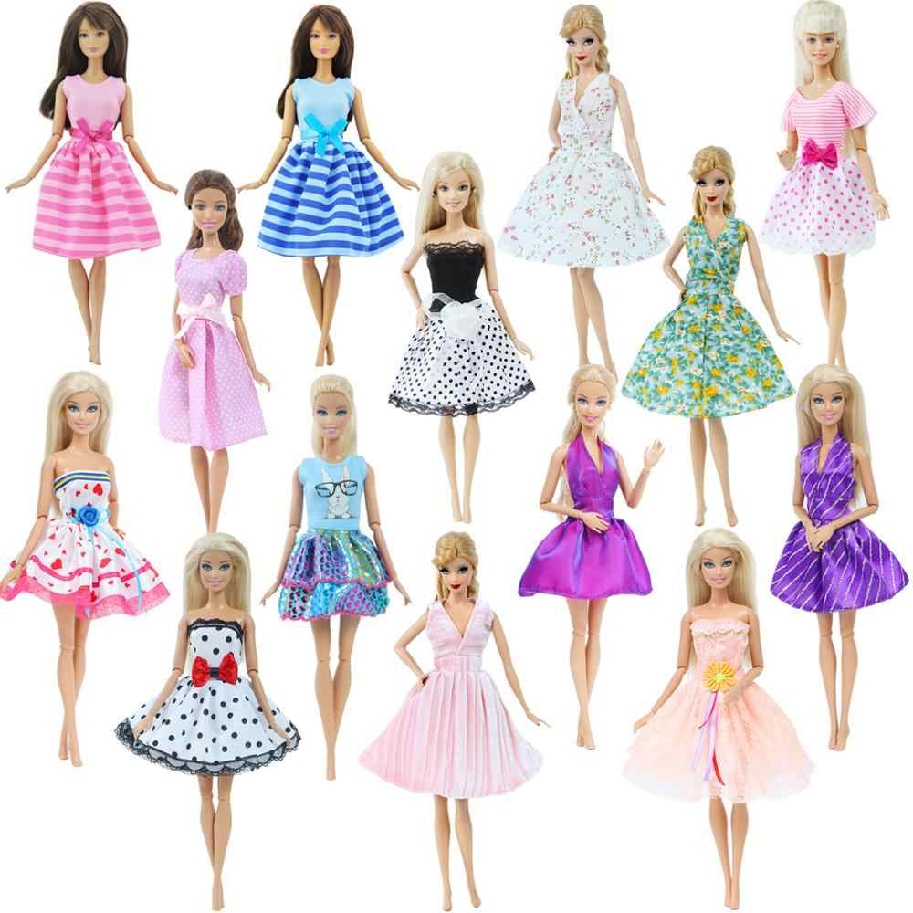 1x Fashion Lovely Dress Mini Gown Flower Print Wedding Party Skirt Daily Clothes for Barbie Doll Accessories Girl's Toy