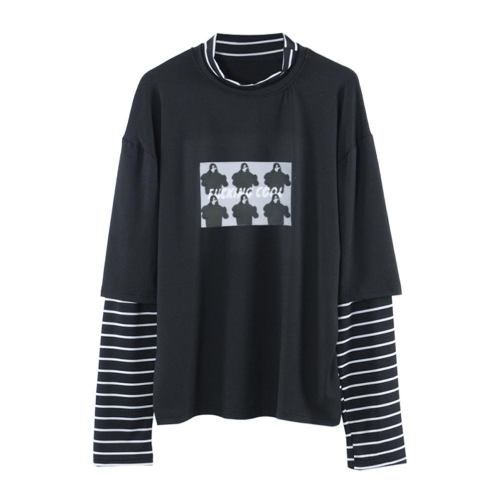 Fashion Autumn Women T Shirt Letter Print Stripe Patchwork Casual Loose Long Sleeve T Shirt Trend Bottoming Shirt Tee Top