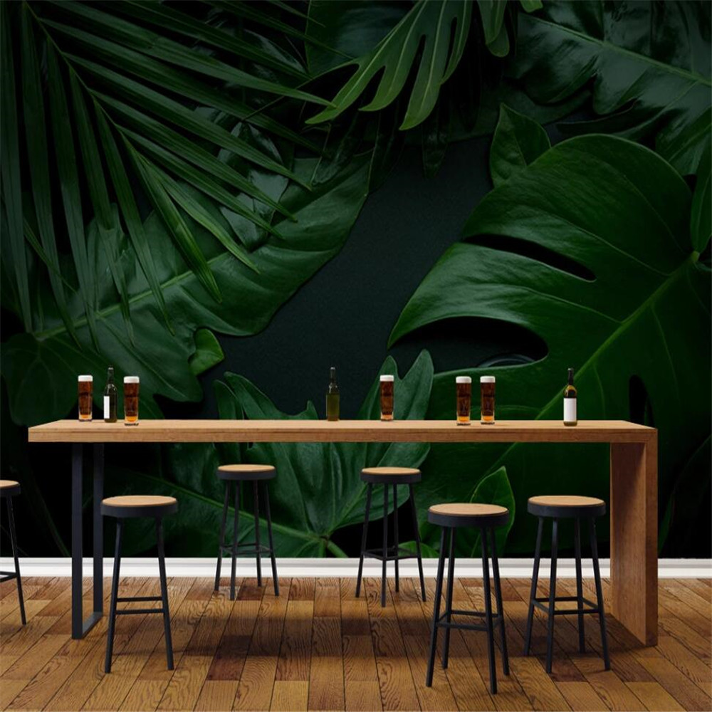 Drop Shipping Custom 3D Wallpaper Mural Green Plant Leaves Living Room Background Wall Decoration Painting Wallpaper Mural