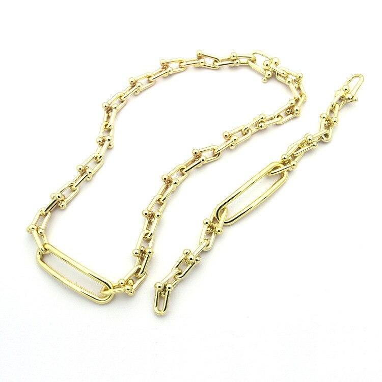 Mode titane acier bijoux lettre grand U en forme de chaîne collier bracelet ensemble de bijoux pour les femmes