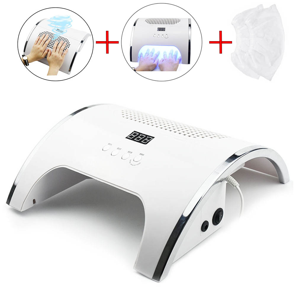 80W UV LED Nail Lamp With Nail Vacuum Cleaner Nail Polish Gel Dryer 2 Fan Nail Dust Collector 2 In 1 Manicure Manicure Tool