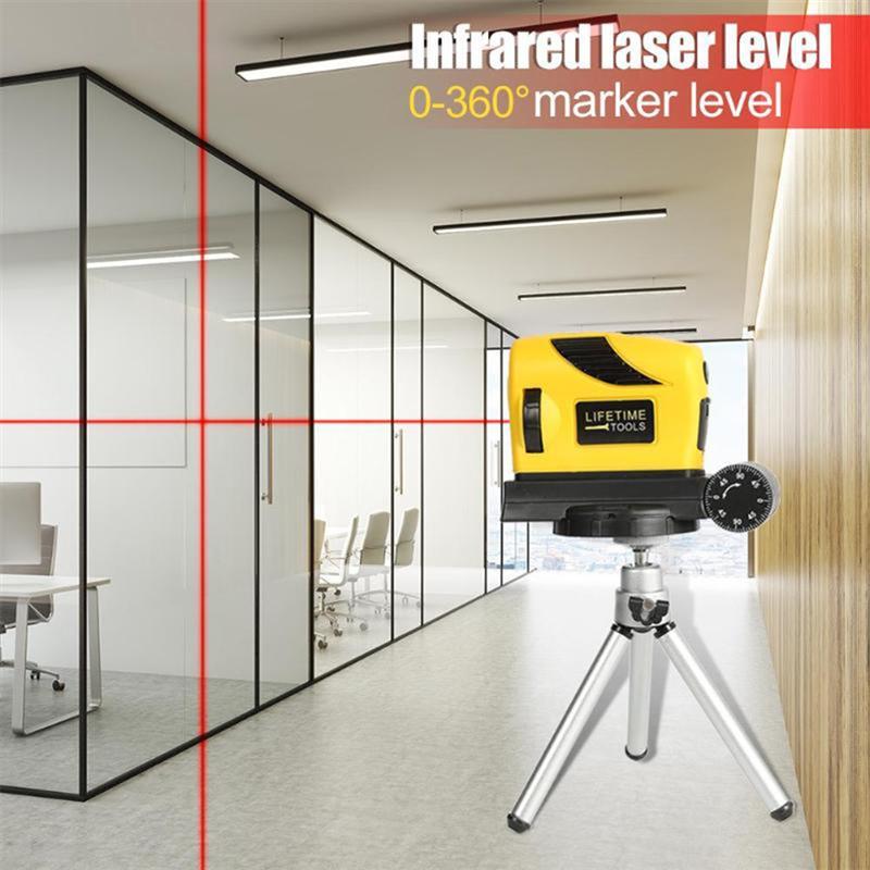 360 ° четыре в одном лазерный уровень горизонта Вертикальная мера Выравнивателя охотника Стандартный и метрические линейки Многоцелевой ла...