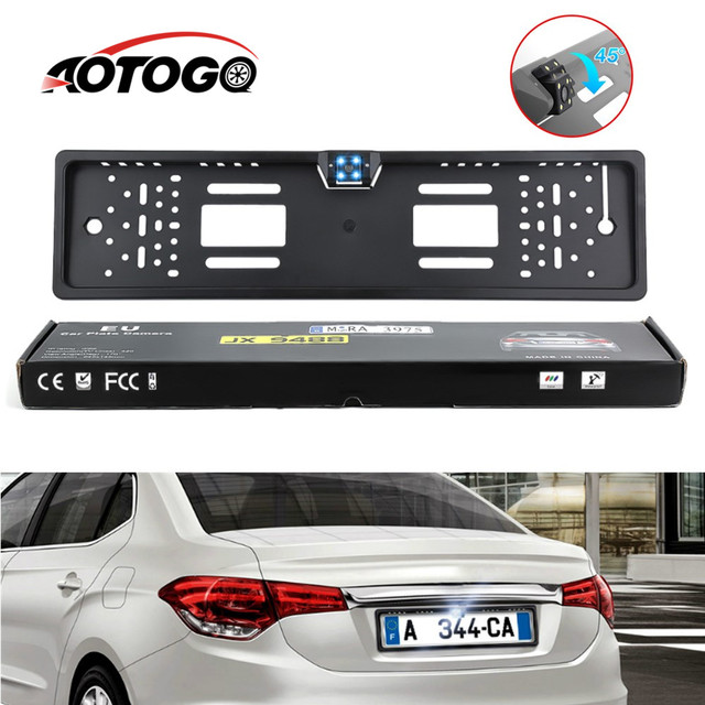 $ 7.69 Auto Parktronic EU Car License Plate Frame HD Night Vision Car Rear View Camera Reverse Rear Camera With 4 Led Light