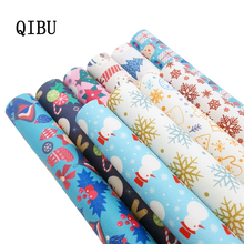QIBUMAY 1pcs Christmas Faux Leather Bow Fabric PU Vinyl Snow Cartoon Printed DIY Hairbow Sheet Synthetic