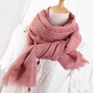 Image 4 - 2020 moda designer primavera oco linho & algodão cachecol feminino cor sólida muçulmano vermelho preto hijab cachecóis cabeça lenço de cabelo xales