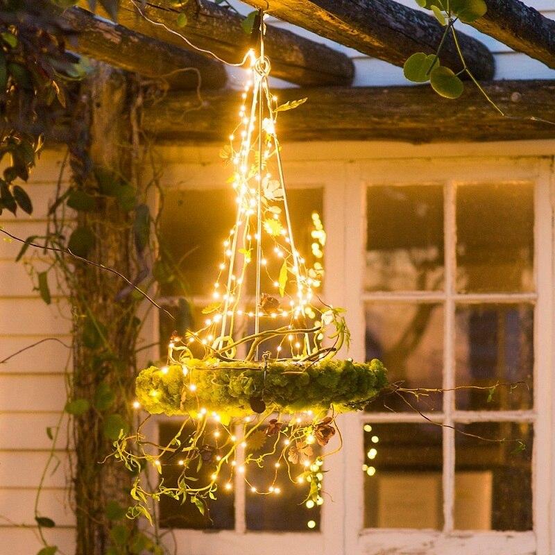 10X2 м 200 светодиодный медный провод, сказочные гирлянды, светодиодный веточный свет для рождественской елки, вечерние гирлянды с адаптером