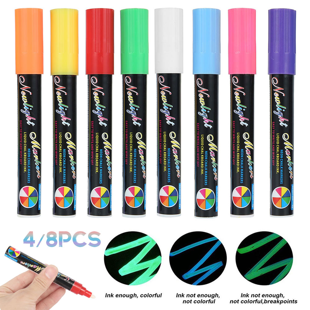 4/8 cores highlighter fluorescente caneta marcador de giz líquido neon caneta para led placa de escrita para pintura graffiti escritório fornecimento