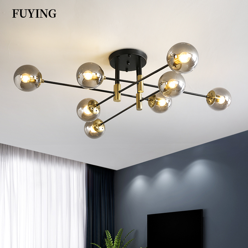 Nordic Home Decoration Chandelier Remote Control Iron Glass Lamp Changable Light Living Room Dining Room Bedroom Chandeliers