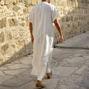 Image 5 - Incerun男性ローブカフタンイスラム教徒アラブイスラムvネック半袖固体cottonthobeヴィンテージ部屋着プラスサイズアラビア男アバヤ