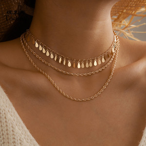 Tocona Punk Leaf Tassel Chain Choker Necklace 2020 Trendy Multilayer Gold Alloy Metal for Women Bohemain Jewelry Gift 15199