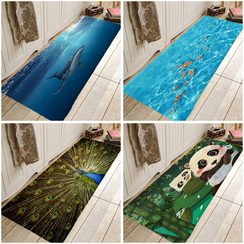 Cartoon Panda Shark Sea Fish Peacock Cat Kitchen Entrance Door Mat Anti-slip Floor Rug Bathroom  Area  Hallway  Free Shipping