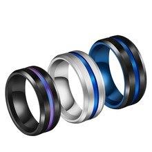 Мужская мода 8 мм черный матовый лестница край прорез из нержавеющей стали кольцо цвет синий, черный; Большие размеры канавка для мужчин обр...