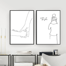 Father and Daughter Son Art Line Drawing Posters Abstract Minimalist Wall Art Canvas Print Painting Modern Decorative Pictures