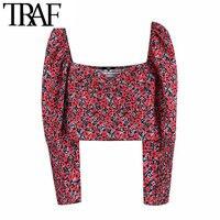 ONKOGENE Frauen Vintage Stilvolle Floral Druck Kurz Stil Blusen Mode V-ausschnitt Langarm Zurück Elastische Weibliche Shirts Chic Crop top