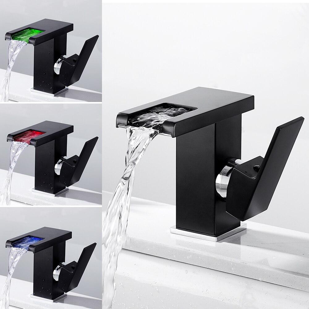 Moderne 3 couleurs capteur de température robinet à LED salle de bain évier robinet froid et eau chaude mélangeur robinet cascade mitigeur évier
